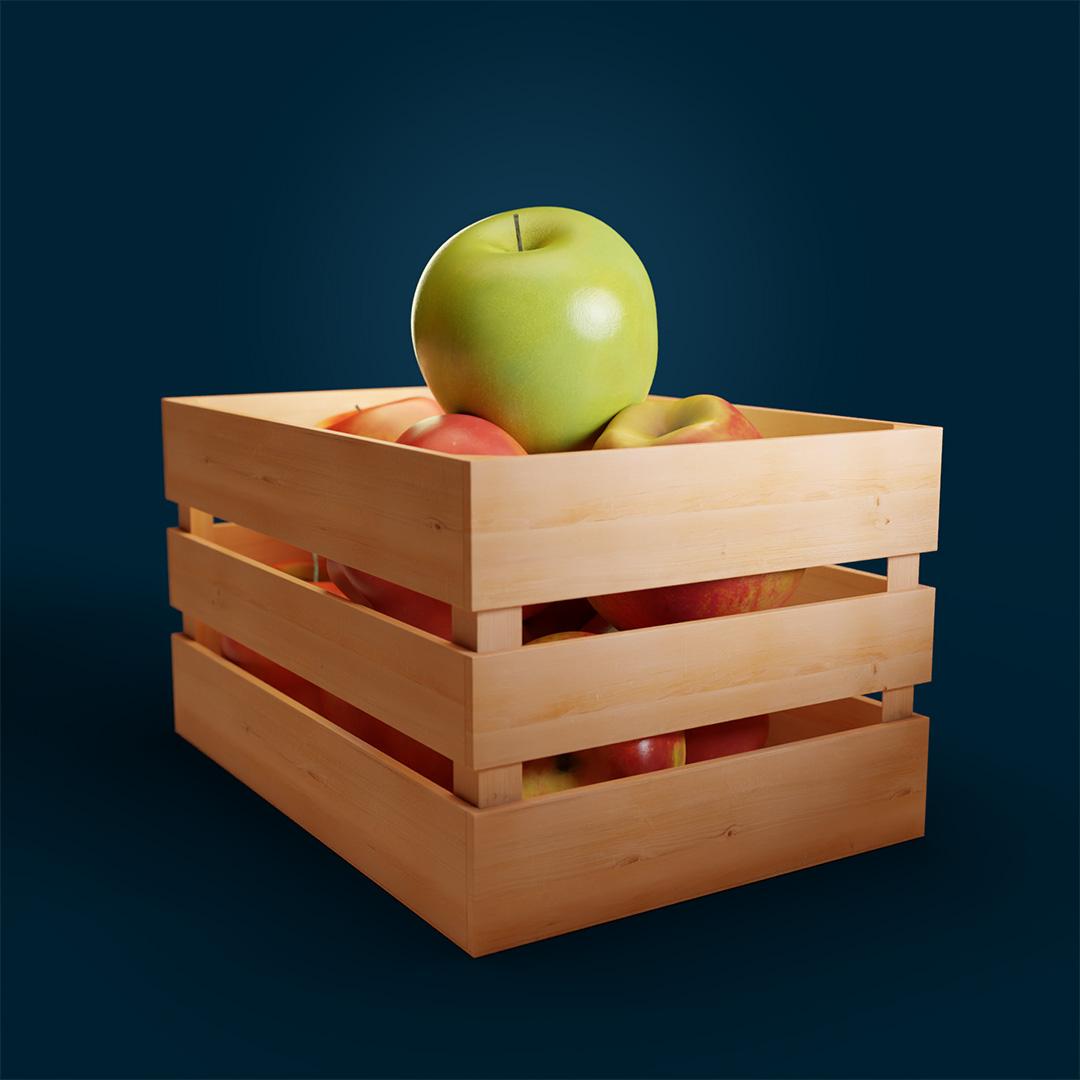 Cesto con Mele rosse sotto e una mela verde in primo piano