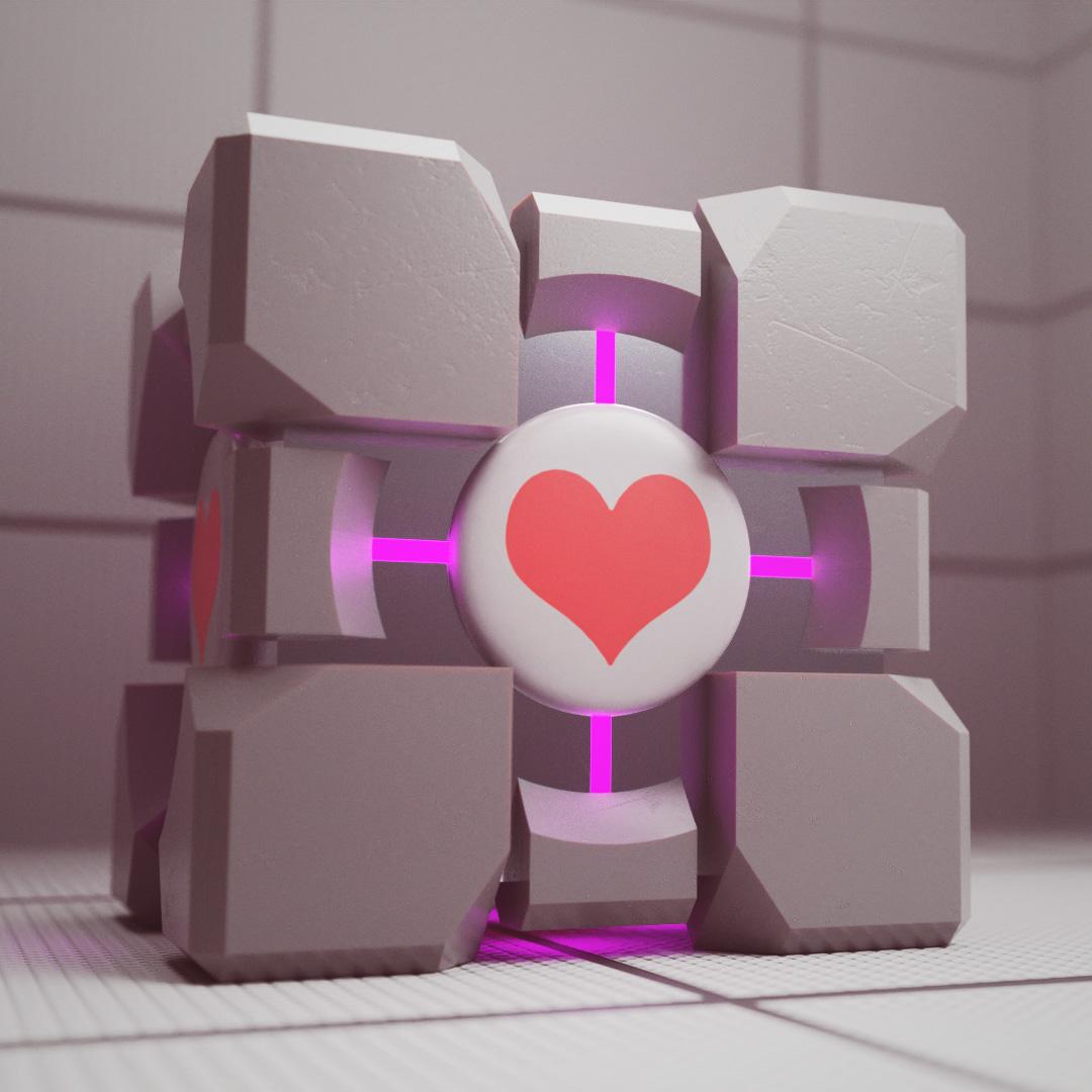 Companion cube dal gioco Portal Valve