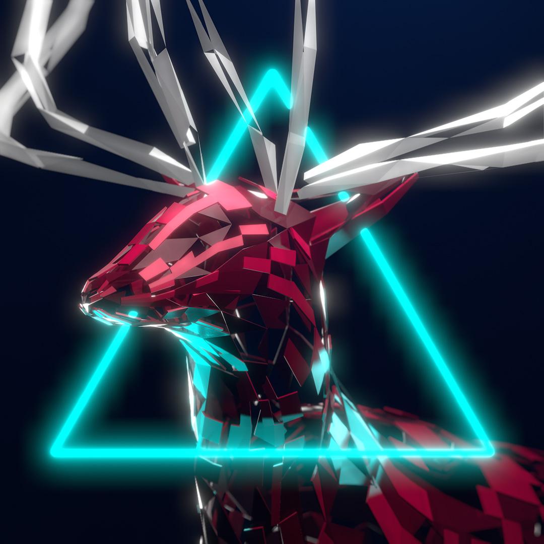 Renna stilizzata intorno alla testa ha un triangolo luminescente