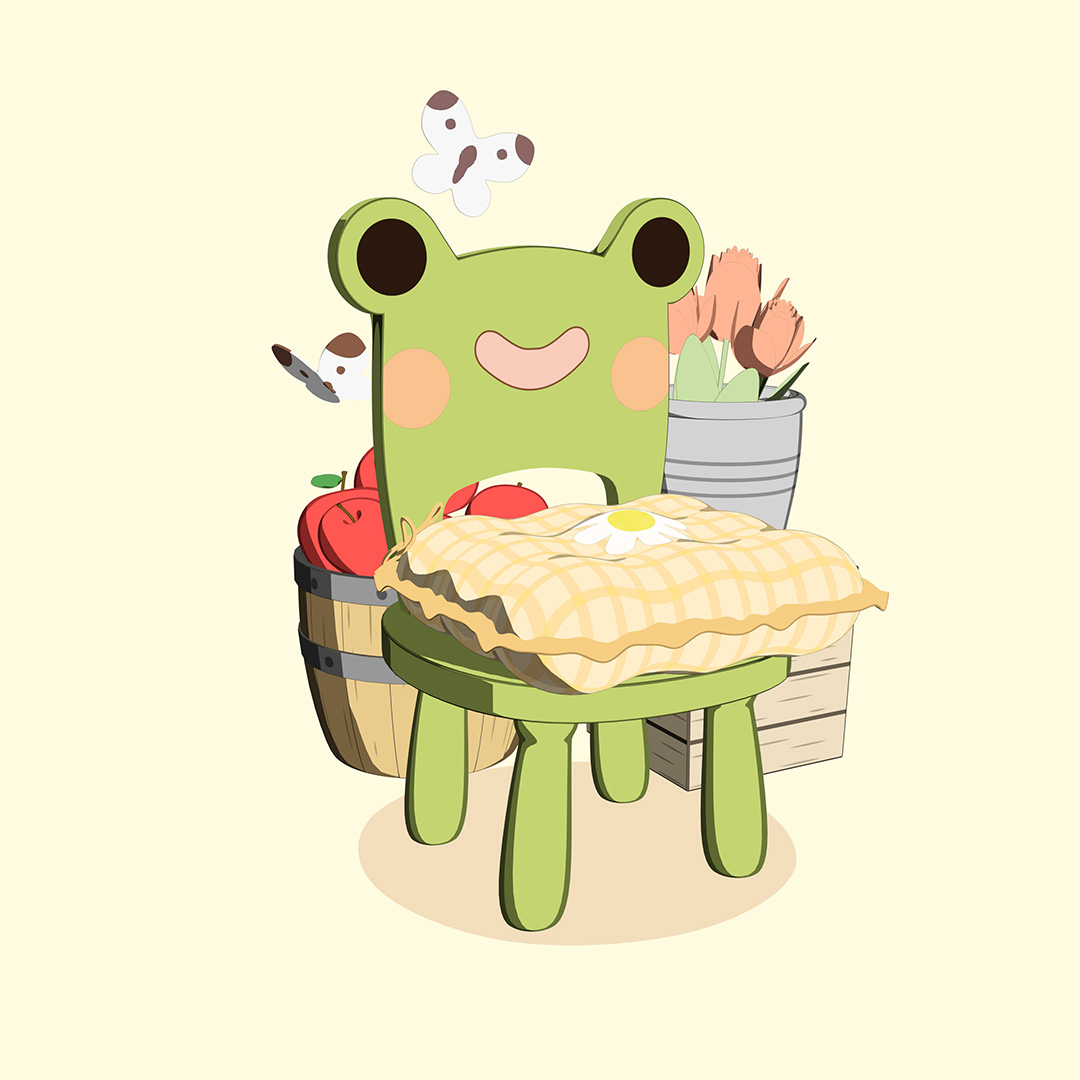 Sedia con la faccia di una rana nu cesto di mele e farfalle intorno
