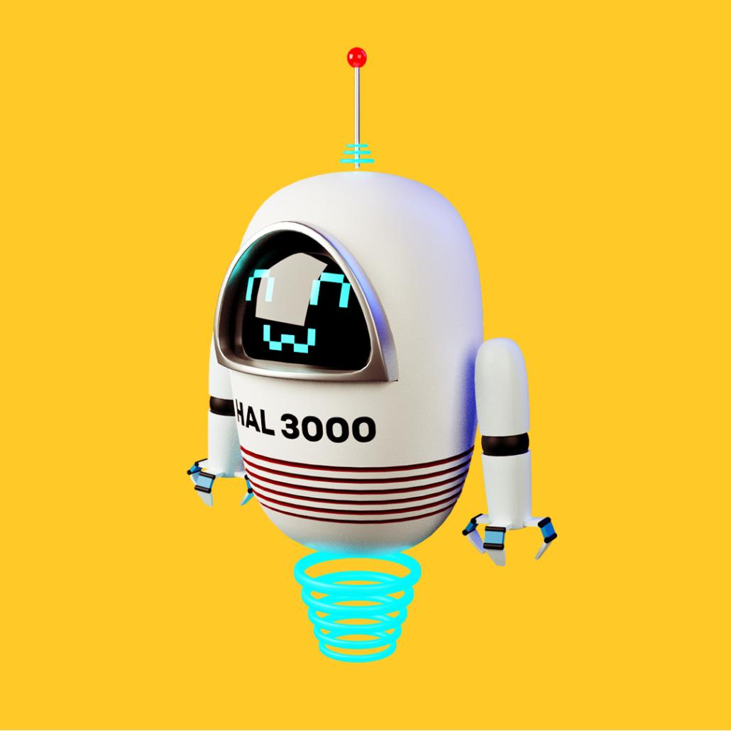 Robot bianco che sorride su sfondo giallo