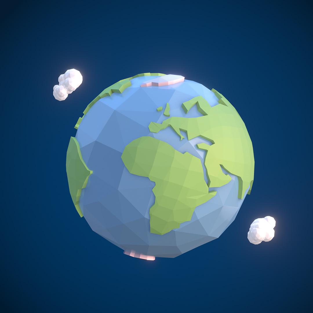 Terra in formato low poly con nuvole intorno su sfodno blu
