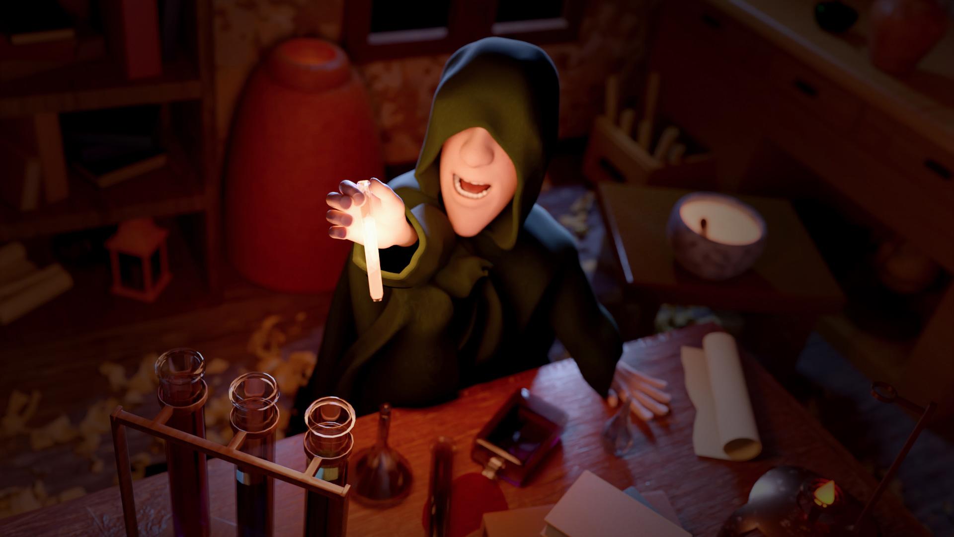 Alchimista con mantello tira verso l'alto una boccetta contenente liquido luminescente